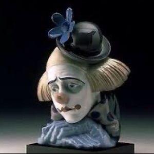 LLADRO #5130 pensive CLOWN'S HEAD Bust Figurine